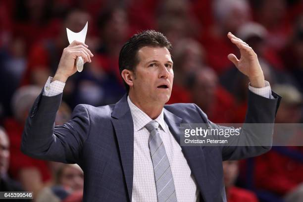 Head coach Steve Alford of the UCLA Bruins reacts during the first half of the college basketball game against the Arizona Wildcats at McKale Center...