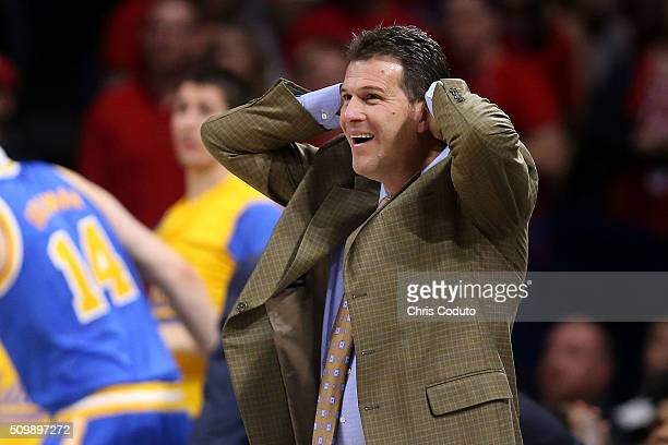Head coach Steve Alford of the UCLA Bruins reacts during the second half of the college basketball game at McKale Center on February 12 2016 in...