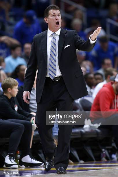 Head coach Steve Alford of the UCLA Bruins reacts during the second half of the CBS Sports Classic against the Kentucky Wildcats at the Smoothie King...