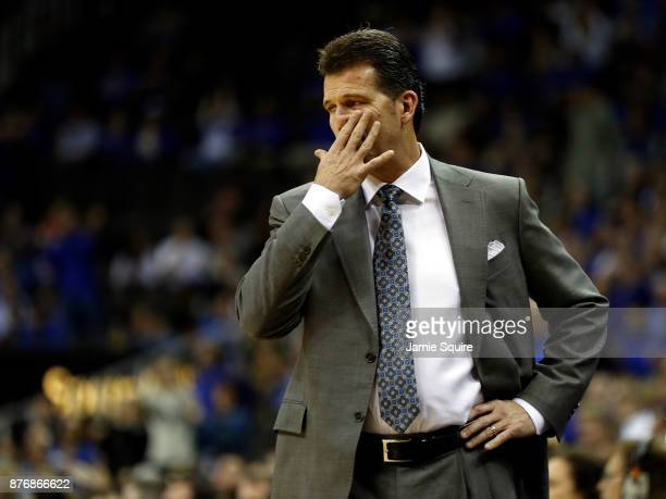 Head coach Steve Alford of the UCLA Bruins reacts from the bench during the National Collegiate Basketball Hall Of Fame Classic game against the...