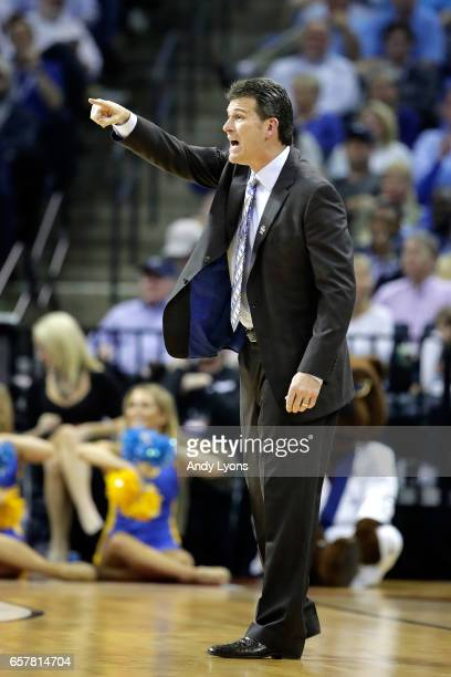Head coach Steve Alford of the UCLA Bruins reacts in the first half against the Kentucky Wildcats during the 2017 NCAA Men's Basketball Tournament...