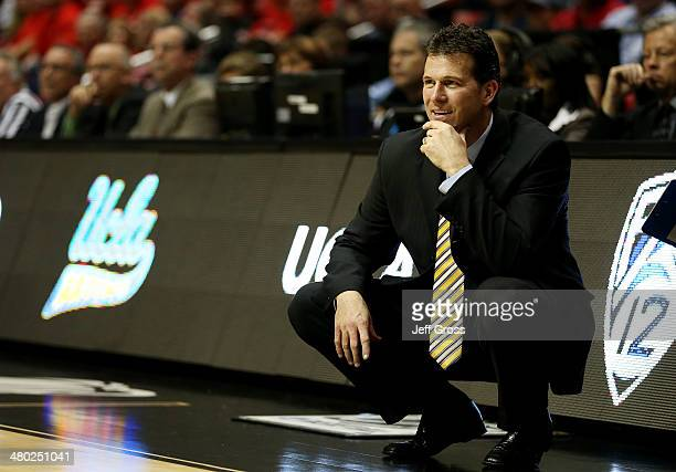 Head coach Steve Alford of the UCLA Bruins reacts in the second half against the Stephen F Austin Lumberjacks during the third round of the 2014 NCAA...