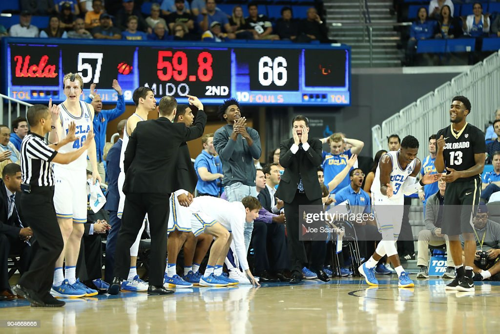 Head coach Steve Alford of the UCLA Bruins reacts to a call from the sideline during the Colorado v UCLA game at Pauley Pavilion on January 13, 2018 in Los Angeles, California.