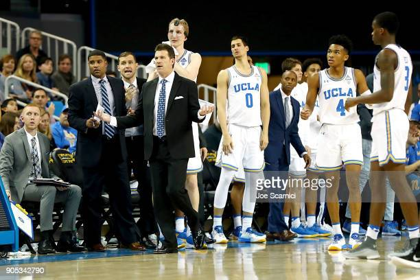 Head coach Steve Alford of the UCLA Bruins reacts to a call from the bench during the Colorado v UCLA game at Pauley Pavilion on January 13 2018 in...