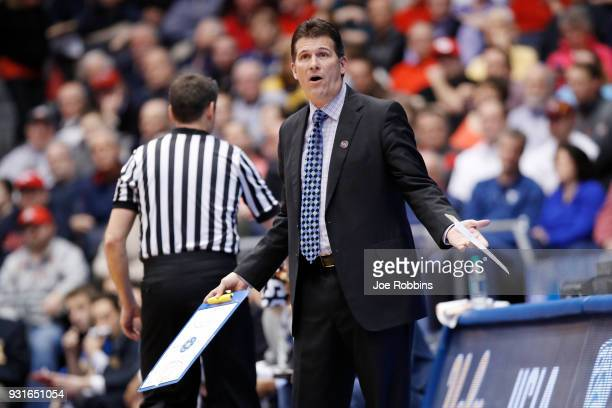 Head coach Steve Alford of the UCLA Bruins reacts to his team against the St Bonaventure Bonnies during the first half of the First Four game in the...