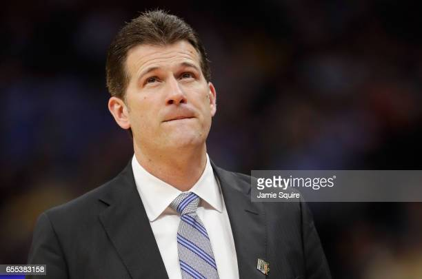 Head coach Steve Alford of the UCLA Bruins watches on against the Cincinnati Bearcats during the second round of the 2017 NCAA Men's Basketball...