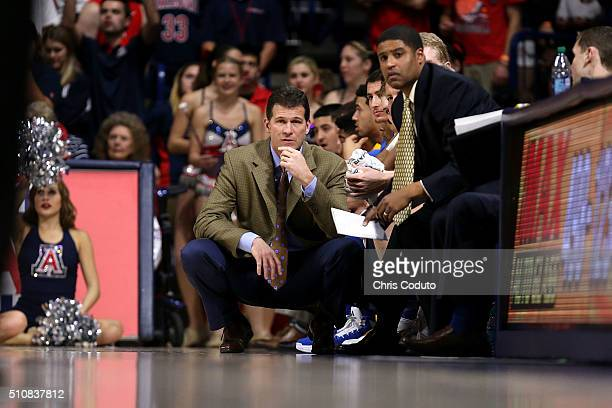 Head coach Steve Alford of the UCLA Bruins watches the action during the first half of the college basketball game at McKale Center on February 12...