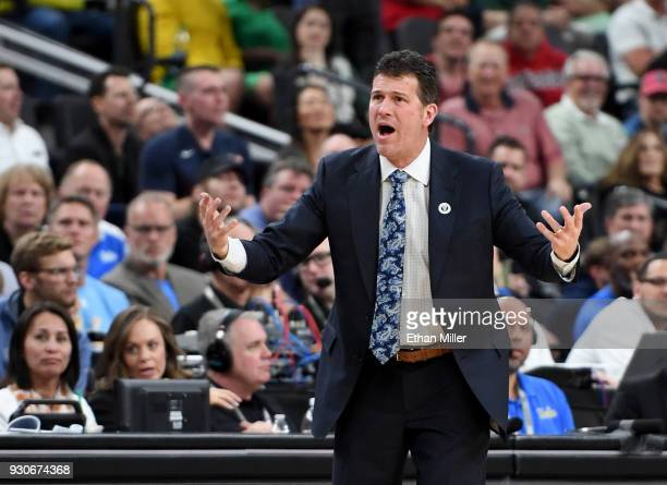 Head coach Steve Alford of the UCLA Bruins yells to his players during a semifinal game of the Pac12 basketball tournament against the Arizona...