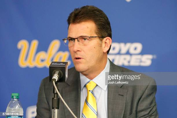 Head Coach Steve Alford of UCLA Men's Baskeball speaks to the media during a press conference at Pauley Pavilion on November 15 2017 in Los Angeles...