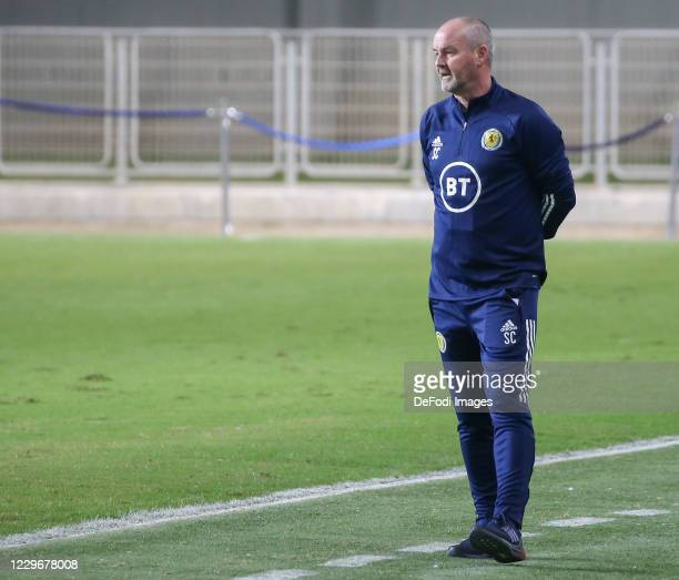 Head coach Steve Clarke of Scotland looks on during the UEFA Nations League group stage match between Israel and Scotland at Netanya Stadium on...