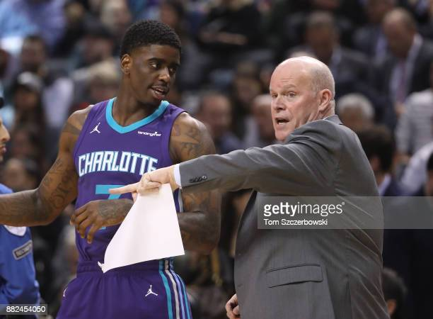 Head coach Steve Clifford of the Charlotte Hornets talks to Dwayne Bacon against the Toronto Raptors during NBA game action at Air Canada Centre on...