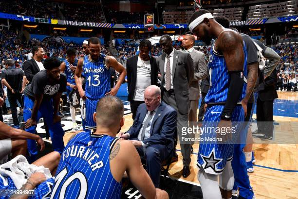 Head Coach Steve Clifford of the Orlando Magic talks to the team during the game against the Charlotte Hornets on February 14 2019 at Amway Center in...