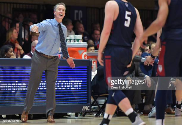 Head coach Steve Donahue of the Pennsylvania Quakers directs his players against the Villanova Wildcatsat Jake Nevin Field House on November 29 2017...