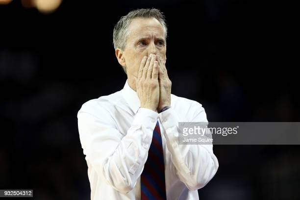 Head coach Steve Donahue of the Pennsylvania Quakers reacts in the second half against the Kansas Jayhawks during the first round of the 2018 NCAA...