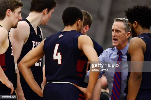 Head coach Steve Donahue of the Pennsylvania Quakers talks to his team during the second half at L Stockwell Jadwin Gymnasium on February 6 2018 in...