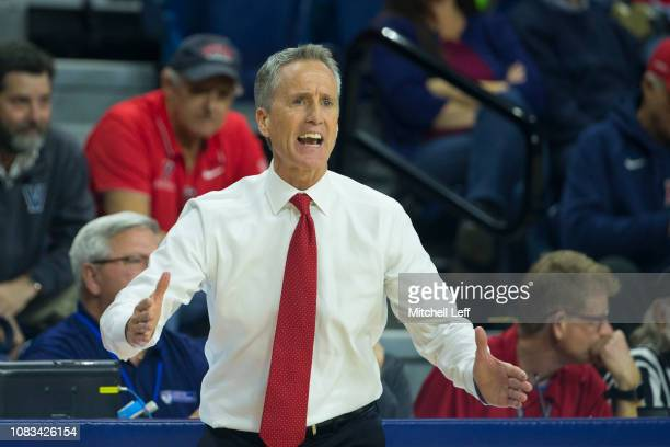 Head coach Steve Donahue of the Pennsylvania Quakers yells out against the Villanova Wildcats at The Palestra on December 11, 2018 in Philadelphia,...