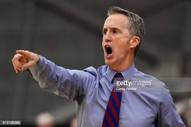 Head coach Steve Donahue of the Pennsylvania Quakers yells to his team during the second half at L Stockwell Jadwin Gymnasium on February 6 2018 in...