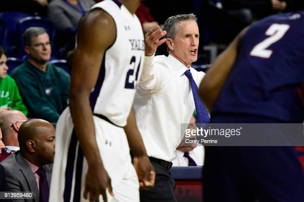 Head coach Steve Donahue of the Pennsylvania Quakers yells to team against the Yale Bulldogs during the first half at The Palestra on February 3 2018...