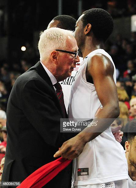 Head coach Steve Fisher hugs Xavier Thames of the San Diego State Aztecs during their 63 to 44 win over the North Dakota State Bison during the Third...