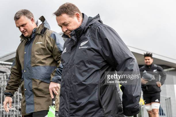 Head Coach Steve Hansen arrives for a New Zealand All Blacks training session at Mt Smart Stadium on August 21 2018 in Auckland New Zealand