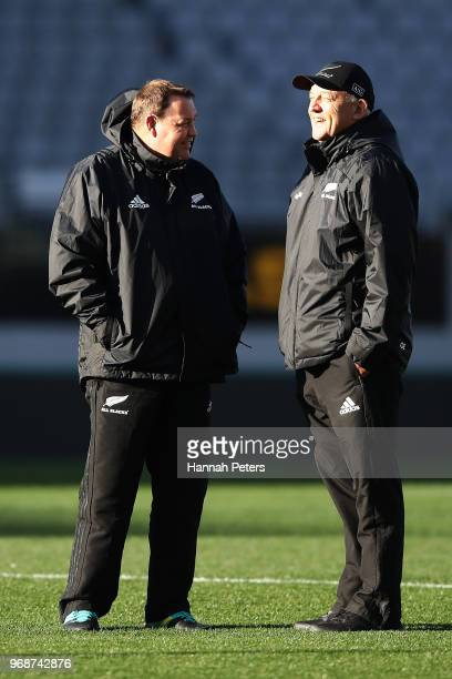 Head coach Steve Hansen shares a joke with Gilbert Enoka during a New Zealand All Blacks training session on June 7 2018 in Auckland New Zealand
