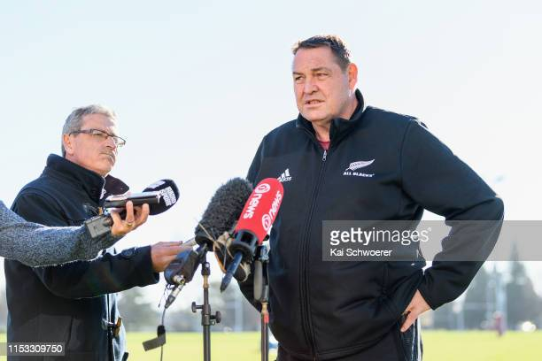 Head Coach Steve Hansen speaks to the media during the All Blacks Foundation Day at Burnside Rugby Club on June 03, 2019 in Christchurch, New Zealand.