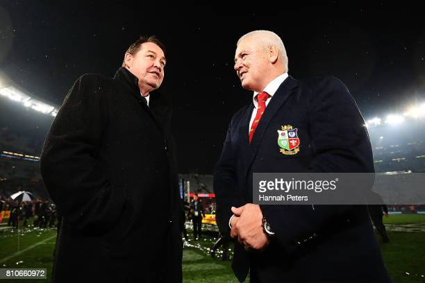Head coach Steve Hansen talks with head coach Warren Gatland of the Lions the Test match between the New Zealand All Blacks and the British & Irish...