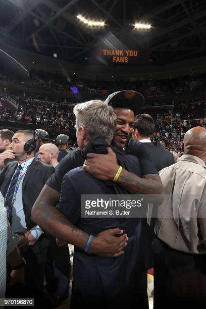 Head coach Steve Kerr and Jordan Bell of the Golden State Warriors hug after Game Four of the 2018 NBA Finals against the Cleveland Cavaliers on June...