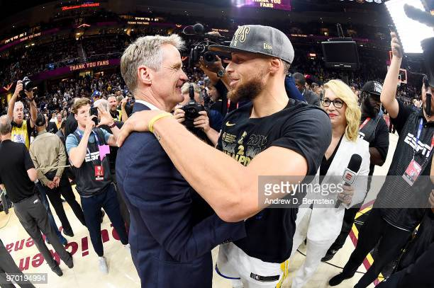 Head Coach Steve Kerr and Stephen Curry of the Golden State Warriors celebrate after Game Four of the 2018 NBA Finals against the Cleveland Cavaliers...