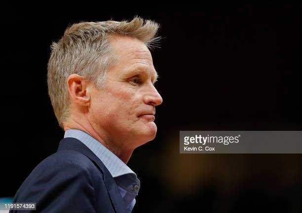 Head coach Steve Kerr looks on prior to the game against the Atlanta Hawks at State Farm Arena on December 02 2019 in Atlanta Georgia NOTE TO USER...