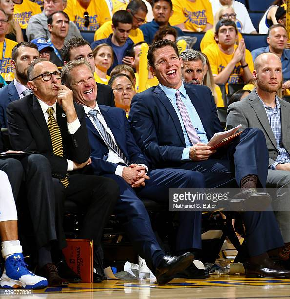 Head coach Steve Kerr of the Golden State Warriors and assistant coach Luke Walton during Game Two of the 2016 NBA Finals against the Cleveland...