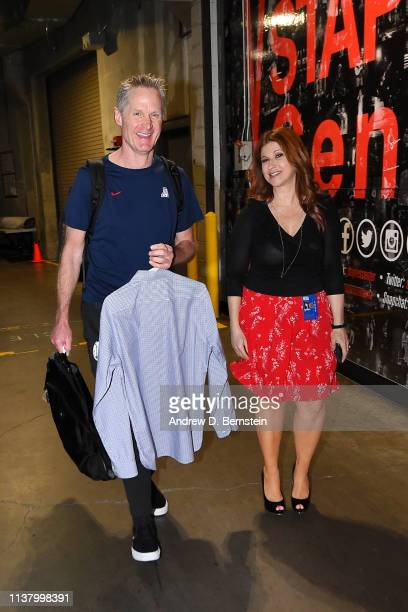 Head Coach Steve Kerr of the Golden State Warriors and Sports Journalist Rachel Nichols arrive at the arena before Game Three of Round One of the...