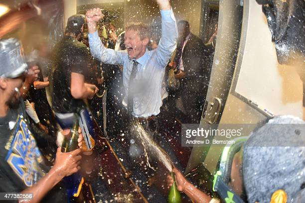 Head Coach Steve Kerr of the Golden State Warriors celebrates in the locker room after a victory over the Cleveland Cavaliers in Game Six to win the...
