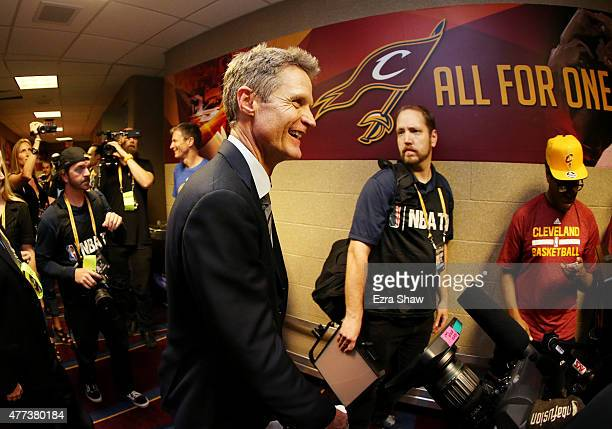 Head coach Steve Kerr of the Golden State Warriors celebrates their win over the Cleveland Cavaliers in Game Six of the 2015 NBA Finals at Quicken...