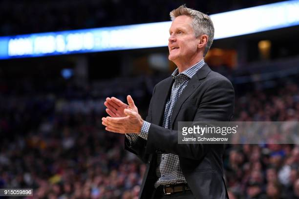 Head Coach Steve Kerr of the Golden State Warriors coaches against the Denver Nuggets at Pepsi Center on February 3 2018 in Denver Colorado NOTE TO...
