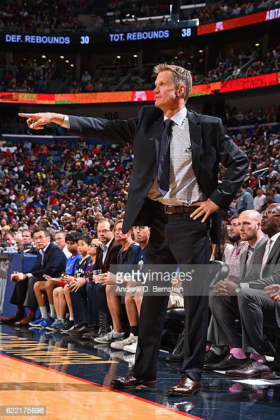 Head Coach Steve Kerr of the Golden State Warriors coaches during a game against the New Orleans Pelicans at Smoothie King Center on October 28 2016...