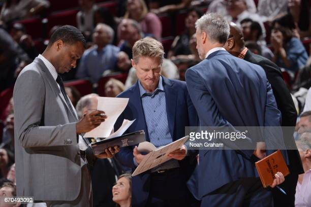 Head Coach Steve Kerr of the Golden State Warriors coaches during the game against the Houston Rockets on March 28 2017 at the Toyota Center in...