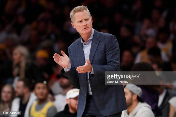 Head Coach Steve Kerr of the Golden State Warriors coaches from the bench during the first half of a game against the Los Angeles Lakers at Staples...