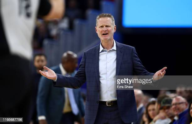 Head coach Steve Kerr of the Golden State Warriors complains about a call during their game against the Minnesota Timberwolves at Chase Center on...