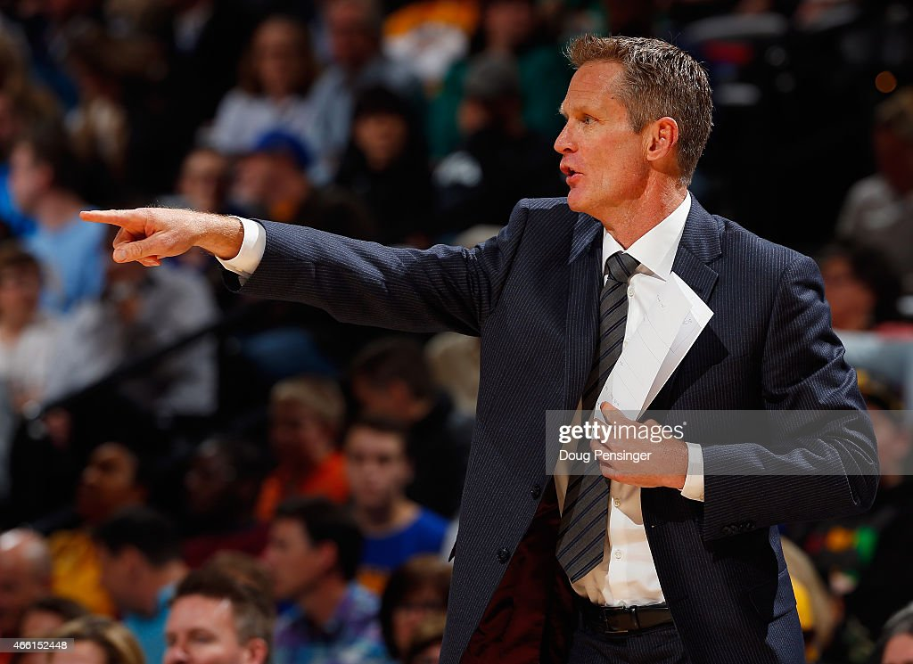 Head coach Steve Kerr of the Golden State Warriors leads his team against the Denver Nuggets at Pepsi Center on March 13, 2015 in Denver, Colorado.