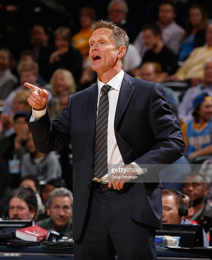Head coach Steve Kerr of the Golden State Warriors leads his team against the Denver Nuggets at Pepsi Center on March 13, 2015 in Denver, Colorado. The Nuggets defeated the Warriors 114-103.