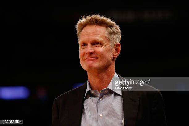 Head Coach Steve Kerr of the Golden State Warriors looks on against the New York Knicks at Madison Square Garden on October 26 2018 in New York City...