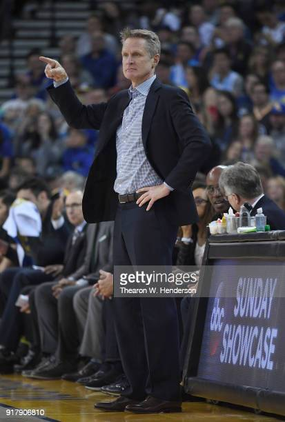 Head coach Steve Kerr of the Golden State Warriors looks on against the San Antonio Spurs during an NBA basketball game at ORACLE Arena on February...