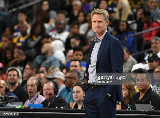Head coach Steve Kerr of the Golden State Warriors looks on during a preseason game against the Los Angeles Lakers at TMobile Arena on October 10...