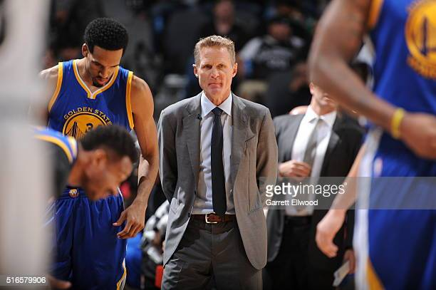 Head Coach Steve Kerr of the Golden State Warriors looks on during the game against the San Antonio Spurs on March 19 2016 at the ATT Center in San...