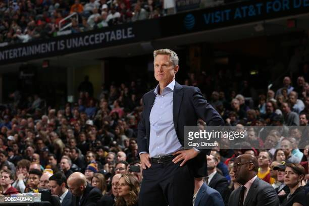 Head Coach Steve Kerr of the Golden State Warriors looks on during the game against the Cleveland Cavaliers on January 15 2018 at Quicken Loans Arena...