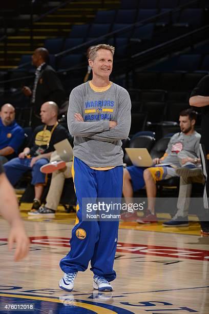 head coach Steve Kerr of the Golden State Warriors participates during practice and media availability as part of the 2015 NBA Finals on June 5 2015...