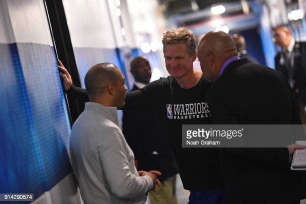 Head Coach Steve Kerr of the Golden State Warriors photographed before the game against the Boston Celtics on January 27 2018 at ORACLE Arena in...