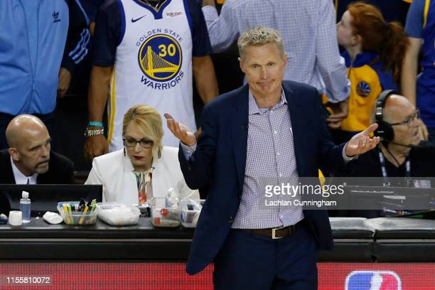 Head coach Steve Kerr of the Golden State Warriors reacts against the Toronto Raptors in the second half during Game Six of the 2019 NBA Finals at...