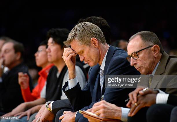 Head coach Steve Kerr of the Golden State Warriors reacts during the second half of the basketball game against the Los Angeles Lakers at Staples...